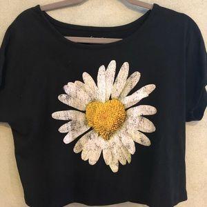 Delia*s Black Daisy Heart Crop Top